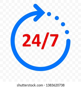 24 7 arrow icon, customer support, delivery and 24 hours, 7 days week open symbol. Vector round clock blue arrow sign