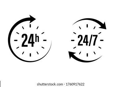 24 7 clock icon vector. day hour open customer support service. call center time assistance 247. online help. round week year sign. contact line design. isolated on white background