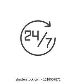 24 7 clock outline icon. linear style sign for mobile concept and web design. Open 24 hours a day and 7 days a week simple line vector icon. Symbol, logo illustration. Pixel perfect vector graphics