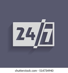 24 7 icon. open 24 hours a day and 7 days a week icons 24/7