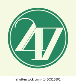 24 7 logo. open 24 hours a day and 7 days a week logo 24/7 - Vector