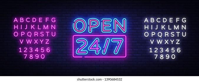 24 7 Neon Sinboard Vector. Open all day neon sign, design template, modern trend design, night signboard, night bright advertising, light banner, light art. Vector. Editing text neon sign