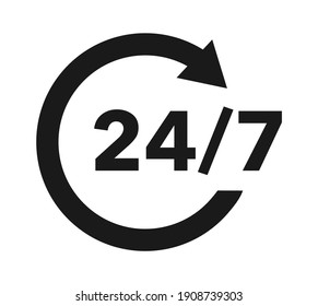 24 7 service icon. Customer service. Support sign.  Round-the-clock work of the store.