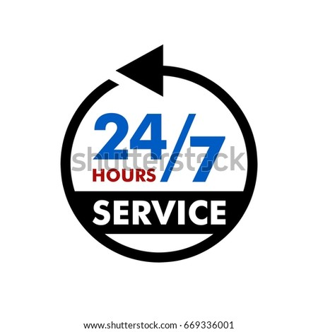 24 7 service signage template stock vector royalty free 669336001