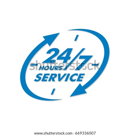 24 7 service signage template stock vector royalty free 669336007