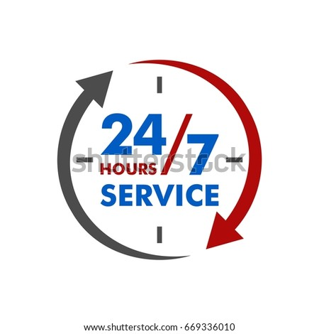 24 7 service signage template stock vector royalty free 669336010