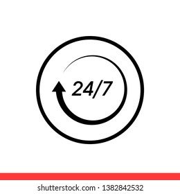 24 7 service vector icon, day symbol. Simple, flat design for web or mobile app
