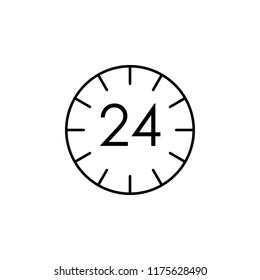 24 7 time icon. Element of logistics icon for mobile concept and web apps. Thin line 24 7 time icon can be used for web and mobile on white background