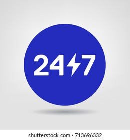 24/ 7 Vector Web Design Element. Blue Circle Icon. Vector Sticker of online 24/7 support service, can be used in logo, UI and web design symbol.