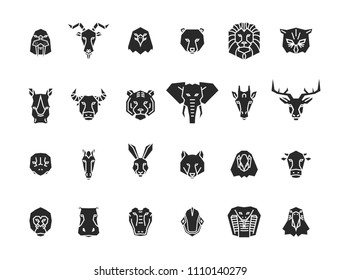 24 animal head icons. Unique vector geometric illustration collection representing some of the most famous wild life animals.