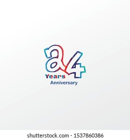 24 anniversary celebration logotype blue, orage and red colored. four years birthday logo on white background.