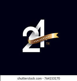 24 anniversary logo with gold ribbon. template design for web, game ,Creative poster, booklet, leaflet, flyer, magazine, invitation card