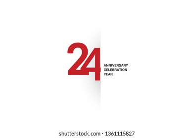 24 anniversary, minimalist logo. 24th jubilee, greeting card. Birthday invitation. 24 year sign. Red space vector illustration on white background - Vector