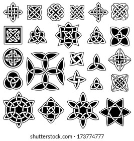 24 Celtic knots (Triquetra (Trinity) knot, Quartenary knot, etc.) collection for your logo, design or project (vector illustration)