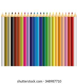 24 color pencil vector