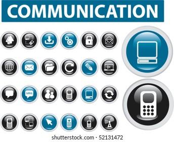 24 communication buttons. vector
