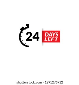 24 Days Left sign - emblem, label, badge,sticker, logo. Designed for your web site design, logo, app