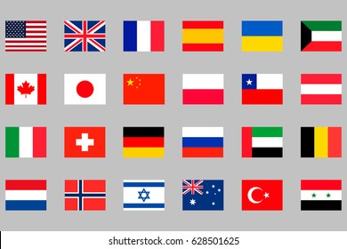 24 different national flags set