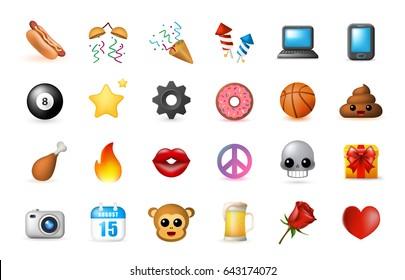 24 Emoticon on White Background. Isolated Vector Illustration