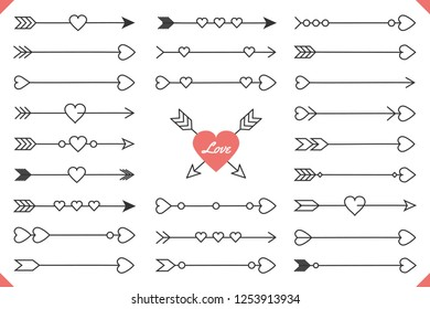 24 Hand drawn arrows with hearts, design elements for Valentine's day and wedding, vector eps10 illustration