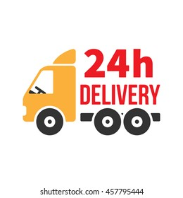 24 Hour Delivery Icon. Next Day Shipping. Flat Style Vector