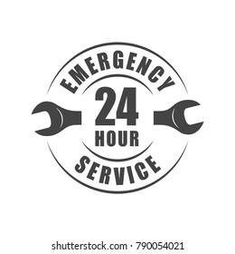 24 hour emergency service logo with wrench silhouette