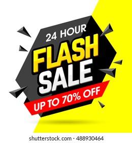 24 Hour Flash Sale banner, save up to 70%. Vector illustration.