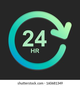 24 hour green and dark background Vector Element