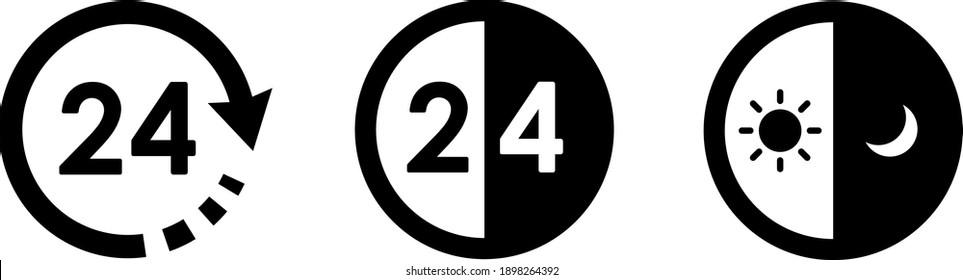 24 hour icon variation set