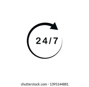 24 hour icon vector logo template