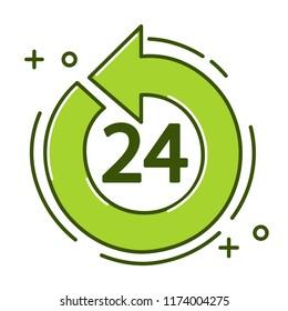 24 hour logo green background.