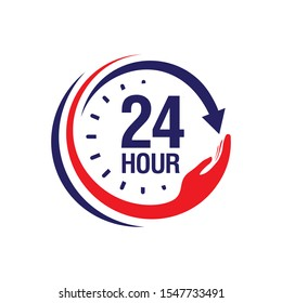 24 hour medical care service vector icon. day/night services button symbol. illustration of 24/7 sign isolated over a white background.