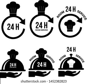 24 hour room service icon vector. Non stop catering service. 24h icon for hotels, restaurants, catering, buffet food industry. 24 hour service. Kitchen open non stop. Cercle with arrow and chef hat