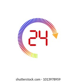 24 hour service icon. Logo element illustration.  Simple 24 hour service concept. Can be used in web and mobile.Linear vector illustration.
