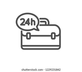 24 hour service line icon. Support help sign. Feedback symbol. Quality design flat app element. Editable stroke 24h service icon. Vector