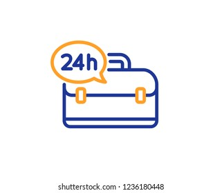 24 hour service line icon. Support help sign. Feedback symbol. Colorful outline concept. Blue and orange thin line color 24h service icon. Vector