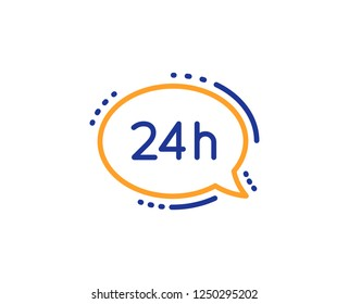 24 hour service line icon. Call support sign. Feedback chat symbol. Colorful outline concept. Blue and orange thin line color 24h service icon. Vector