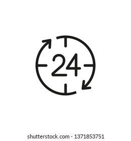 24 hour service line icon. Office work, every day, hurry up. Time concept. Vector illustration can be used for topics like time management, work life, daily routine
