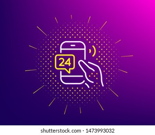 24 hour service line icon. Halftone pattern. Call support sign. Feedback chat symbol. Gradient background. 24h service line icon. Yellow halftone pattern. Vector
