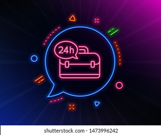 24 hour service line icon. Neon laser lights. Support help sign. Feedback symbol. Glow laser speech bubble. Neon lights chat bubble. Banner badge with 24h service icon. Vector