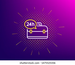24 hour service line icon. Halftone pattern. Support help sign. Feedback symbol. Gradient background. 24h service line icon. Yellow halftone pattern. Vector