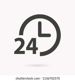24 hour service vector icon. Black illustration isolated on white. Simple pictogram for graphic and web design.