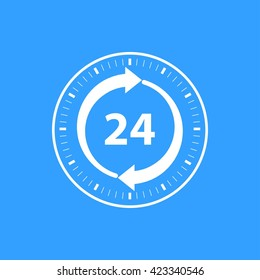 24 hour service    vector icon. White  Illustration isolated on blue  background for graphic and web design.