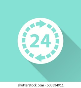 24 hour service vector icon with long shadow. White illustration isolated on green background for graphic and web design.