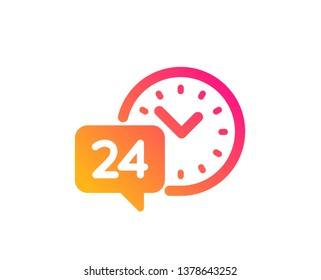 24 hour time service icon. Call support sign. Feedback chat symbol. Classic flat style. Gradient 24h service icon. Vector
