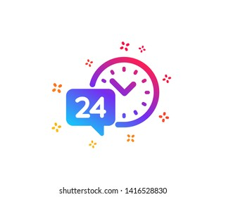 24 hour time service icon. Call support sign. Feedback chat symbol. Dynamic shapes. Gradient design 24h service icon. Classic style. Vector