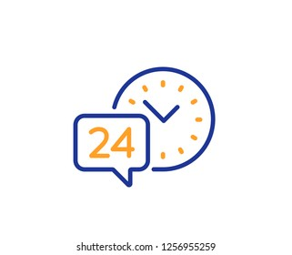 24 hour time service line icon. Call support sign. Feedback chat symbol. Colorful outline concept. Blue and orange thin line color 24h service icon. Vector