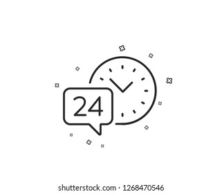24 hour time service line icon. Call support sign. Feedback chat symbol. Geometric shapes. Random cross elements. Linear 24h service icon design. Vector