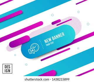 24 hour time service line icon. Call support sign. Feedback chat symbol. Diagonal abstract banner. Linear 24h service icon. Geometric line shapes. Vector