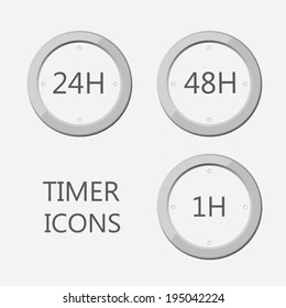 24 hours 48 hours and 1 hours timer icons